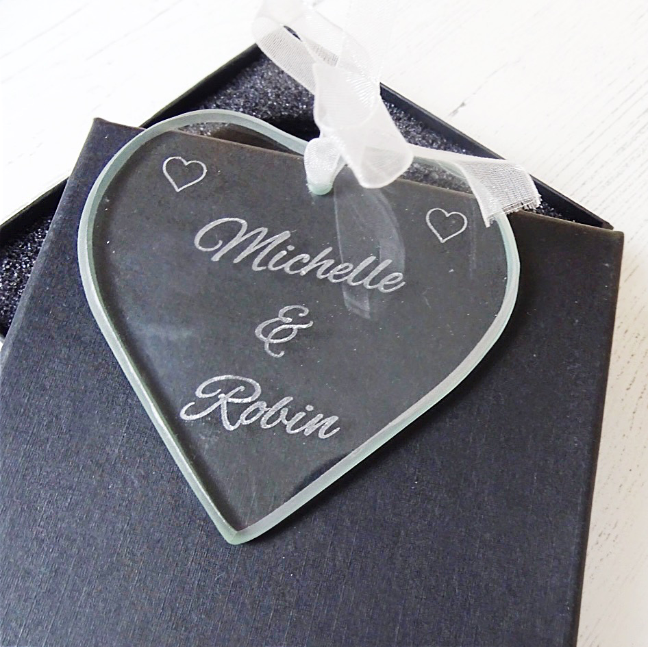 Personalised Engraved Glass Heart