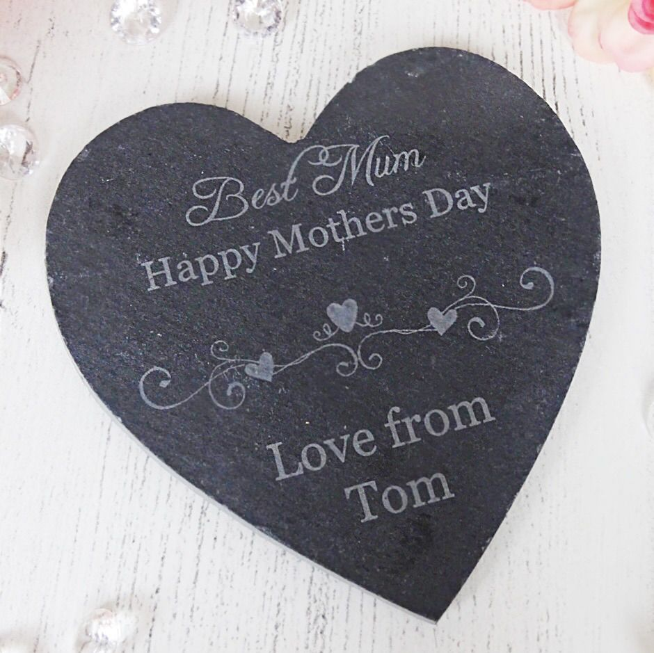 Personalised Slate Mothers Day Gift Coaster Heart Shaped